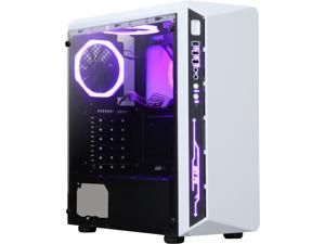 DIYPC DIY-Model X-W-RGB White Steel / Tempered Glass ATX Mid Tower Computer Case with 2 x RGB LED Ring Fans (Pre-Installed)