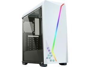DIYPC S2-W-RGB White USB3.0 Steel/ Tempered Glass ATX Mid Tower Gaming Computer Case w/Tempered Glass Panel and Addressable RGB LED Strip