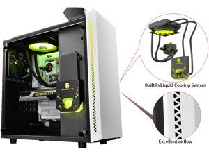 DEEPCOOL Gamer Storm BARONKASE LIQUID White ATX Mid Tower with 120mm AIO water cooling system pre-installed SECC /Tempered Glass Computer Case with controllable RGB lighting system