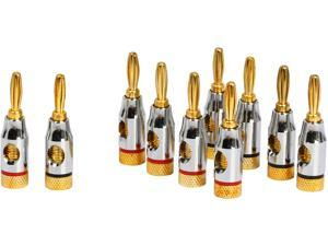 Coboc BA-OPENSCREW-5P High-Quality Copper Speaker Banana Plug w/ Color Coded, Open Screw Type,5 Pair Per Package