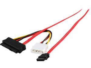 Coboc SFF8482-SATA-0.5M 0.5meter 30AWG Internal SAS 29-Pin SFF-8482 to 7-pin SATA Data Cable with Molex 4-pin LP4 Power