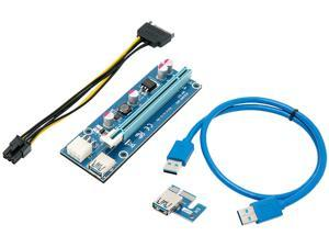 Rosewill RCRC-18001 Mining Card, Riser Card, PCIe (PCI Express) 16x to 1x Riser Adapter, USB 3.0 Extension Cable 60cm, 6 pin PCI-E to SATA Power Cable, GPU Riser Adapter, Ethereum Mining Riser Card