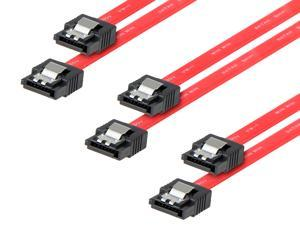 Rosewill [3-Pack] SATA Cable Straight to Straight Connectors SATA III 6.0 Gbps, SATA Cable 18 Inches, SATA 3 Cable - 18 Inches, Red, 3-Pack