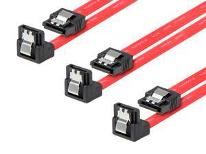Rosewill [3-Pack] SATA Cable 90 Degree Right Angle SATA III 6.0 Gbps, SATA Cable 12 Inches, SATA 3 Cable - 12 Inches, Red, 3-Pack