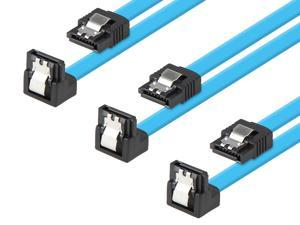 Rosewill [3-Pack] SATA Cable 90 Degree Right Angle SATA III 6.0 Gbps, SATA Cable 24 Inches, SATA 3 Cable - 24 Inches, Blue, 3-Pack