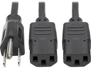 Tripp Lite Universal Power Extension Cord Y Splitter Cable (NEMA 5-15P to 2x IEC-320-C13), 6-ft. (P006-006-2)