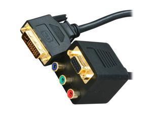 BYTECC BTA-32 VGA(HD15) Female with Nuts & 3 RCA Female to DVI-I(Dual link) Male Adaptor