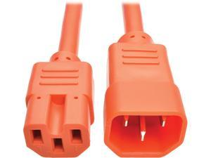 Tripp Lite Heavy-Duty Computer Power Cord, 15A, 14 AWG (IEC-320-C14 to IEC-320-C15), Orange, 3 ft. (P018-003-AOR)
