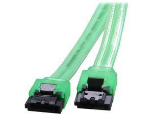 "Coboc Model SC-SATA3-10-LL-GR 10"" SATA III 6Gb/s Data Cable w/Latch,UV Green"