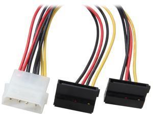 """Coboc Model SC-PWC-MOL-8-SATA2-M-F-90 8"""" Molex 4-pin LP4 Male to 2x SATA Power 15-pin 90-Degree Y-Splitter Converter Adpater Cable"""