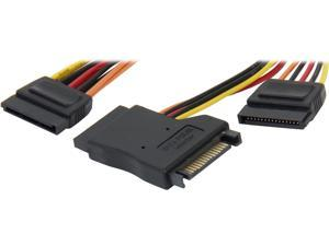 """Coboc Model SC-PWYC-02MT 8"""" 15-pin SATA Power Male to 2 x Female Splitter Cable, with one SATA Power Male to Female Gender Changers"""