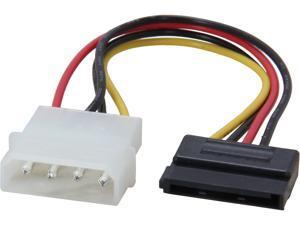 "Coboc SC-MOL-6-SATA-F-M 6"" Molex 4-pin LP4 Male to SATA 15-pin Power Adapter Converter Cable"
