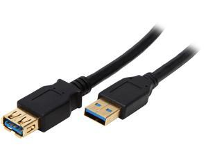 Coboc CY-U3-AAMF-10-BK 10 ft. Black SuperSpeed 5Gbps USB 3.0  A Male to A Female Extension Cable,Gold Plated,Black