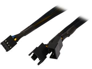 "Coboc TX4SPL2-12 12"" Sleeved 12 inch 1 to Two(2) x 4-pin TX4 PWM Fan Power Splitter Cable (Net Jacket) Female to Male"