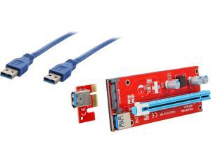 COBOC RISER-1X216X-SATA USB3.0 PCI-E PCI Express 1X to 16X Riser Cable Card Adapter w/ SATA 15pin Power Slot, 60CM USB 3.0 Cable Dedicated for BTC Bitcoin, LTC, ETH - Red