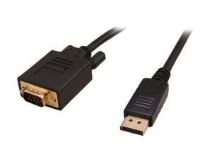 Nippon Labs DP-VGA-6 6 ft. DP DisplayPort Male to VGA Male 28 AWG Adapter Cable, Black