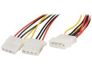 "Nippon Labs POW-01208 8"" 1 x Molex 5.25 Male to 2 x Molex 5.25 Female Power Supply Y Adapter Cable Spliter"