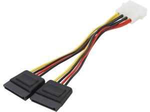 "Nippon Labs POW-S6800-6IN 6"" Molex 4 Pin Male to 2 x SATA Female Power Adaptor Y Cable Splitter"