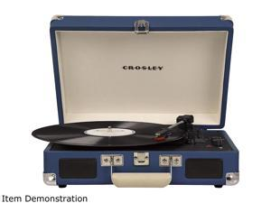 Crosley Cruiser Deluxe Portable Bluetooth Turntable, Blue, CR8005D-BL