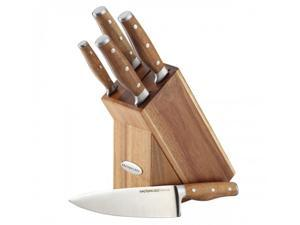 Rachael Ray Cucina 6-Piece Knife Block Set with Acacia Handles