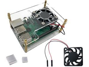 Micro Connectors RAS-PCS06 Acrylic Stackable Raspberry Pi Case with Fan