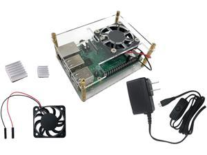 Micro Connectors RAS-PCS06PWR Stackable Acrylic Raspberry Pi 3 Case for Model B/B+ with Fan, Heatsinks and Power Adapter - Clear