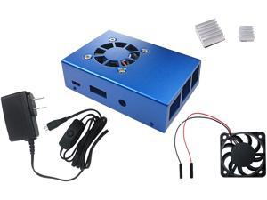 Micro Connectors RAS-PCS04PWR-BL Aluminum Raspberry Pi 3 Case for Model B/B+ with Fan, Heatsinks and UL Approved On/Off Power Adapter