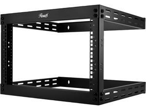 "Rosewill 6U Wall Mount Open Frame 2-Post Server Equipment Rack, 17"" Deep, Threaded Rack Holes, Black - RSR-2P6U001"
