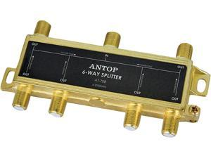 ANTOP Coaxial Splitter 6 Way 2GHz- 5-2050MHz - Low-loss RF Splitter for TV and Satellite - 18K Gold-plated chassis - All Port DC Power Passing