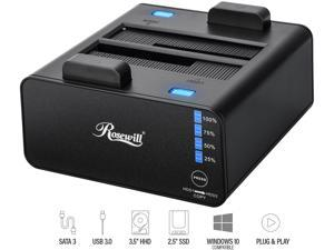 "Rosewill Dual Bay Docking Station Enclosure USB 3.0 for 2.5""/3.5"" SATA III HDD and SSD External Hard Drive Clone Without Computer - RX235"