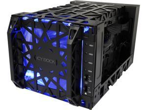 ICY DOCK 4 Bay USB 3.0/ eSATA External HDD Enclosure with 120mm Cooling Fan - Black Vortex MB174U3S-4SB