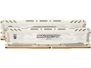 Ballistix Sport LT 16GB Kit (8GBx2) DDR4 2666 MT/s (PC4-21300) SR x8 DIMM 288-Pin - BLS2K8G4D26BFSCK (White)