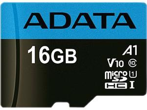 ADATA 16GB Premier microSDHC UHS-I / Class 10 V10 A1 Memory Card with SD Adapter, Speed Up to 100MB/s (AUSDH16GUICL10A1-RA1)