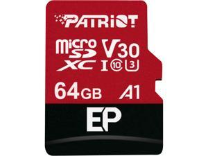 Patriot Memory 64GB EP Series MicroSDXC U3, A1, V30. 4K Memory Card with Adapter, Reads 100 MB/s, Writes 80 MB/s,