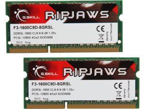 G.SKILL Ripjaws Series 8GB (2 x 4GB) 204-Pin DDR3 SO-DIMM DDR3L 1600 (PC3L 12800) Laptop Memory Model F3-1600C9D-8GRSL