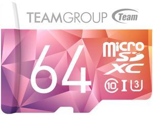 Team 64GB Color II  microSDXC UHS-I/U3 Class 10 Memory Card with Adapter, Speed Up to 90MB/s (TCIIUSXH64GU351)
