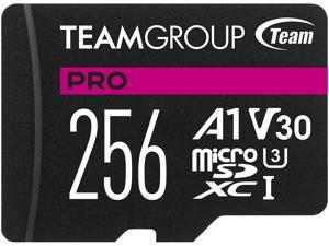 Team Group 256GB Micro SDXC PRO A1 U3 V30 Card Speed Up to 100MB/s (TPUSDX256GIV30A1P03)