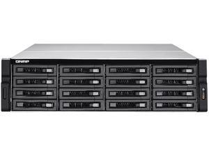 QNAP 16-bay 10GbE NAS and iSCSI/ IP-SAN. 3U, SAS 12G, SAS / SATA 6G, 4 x 1GbE, Build in 2 x 10GbE (SFP+), 40GbE-ready, Redundant PSU