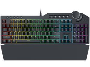 Rosewill Mechanical Gaming Keyboard, 15 RGB Backlit Modes, 2-Port USB Passthrough, Media Keys and Multifunctional Volume Dial, Blue Switches - NEON K90 RGB