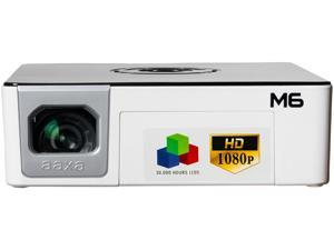 AAXA M6 Native 1080p HD LED DLP Mini Portable Projector with 1200 LED Lumens, HDMI, and Media Player for Business and Home Theater