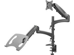 "Rosewill Dual Monitor Stand and Laptop Desk Mount combo with Gas Spring Arms, Full-Motion Height Adjustment and Clamp Mounting for 1 laptop 9.5""-15.6"" & 1 Monitor 10""-27"""