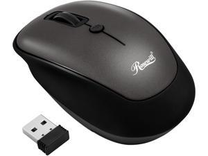 Rosewill Wireless Optical Computer Mouse, Compact, Travel Friendly, Office Style, Adjustable DPI, 4 Buttons, USB - Grey