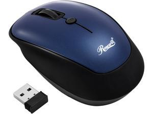 Rosewill Wireless Optical Computer Mouse, Compact, Travel Friendly, Office Style, Adjustable DPI, 4 Buttons, USB - Blue