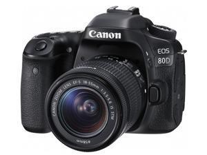 Canon EOS 80D 1263C005 Black Digital SLR Camera with 18-55mm IS STM Lens  KIT