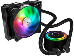 Cooler Master MasterLiquid ML120R Addressable RGB AIO CPU Liquid Cooler, 28 Independently-Controlled LEDS, Robust Sleeved FEP Tubing, Dual 120mm ARGB Air Balance MF
