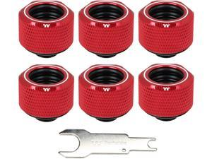 Thermaltake Pacific Red 4 Build-in O-Rings C-Pro G1/4 PETG 16mm OD Compression Fitting 6 Pack CL-W209-CU00RE-B