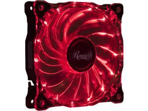 Rosewill RFA-80RL - 120mm CULLINAN Computer Case Cooling Fan with LP4 Adapter - Semi-Transparent Frame & Red LED Lights, Sleeve Bearing, Silent