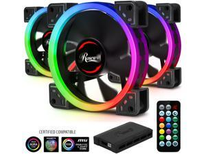 Rosewill RGBF-S12001 120mm Dual Ring Addressable RGB Case Fan Hub Set, True RGB LED Case Fans (3-Pack) and 8-Port Fan Hub, Ultra Quiet Cooling with Long Life Rifle Bearings