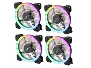 Apevia 412L-RGB Spectra 120mm Silent Dual Ring Addressable RGB Color Changing LED Fan with Remote Control, 16x LEDs & 8X Anti-Vibration Rubber Pads (4-pk)