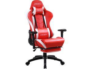 Dowinx Gaming Chair with Footrest Ergonomic Racing Style Recliner with Massage Lumbar Support, Office Armchair for Computer PU Leather E-Sports Gamer Chair High Back Red